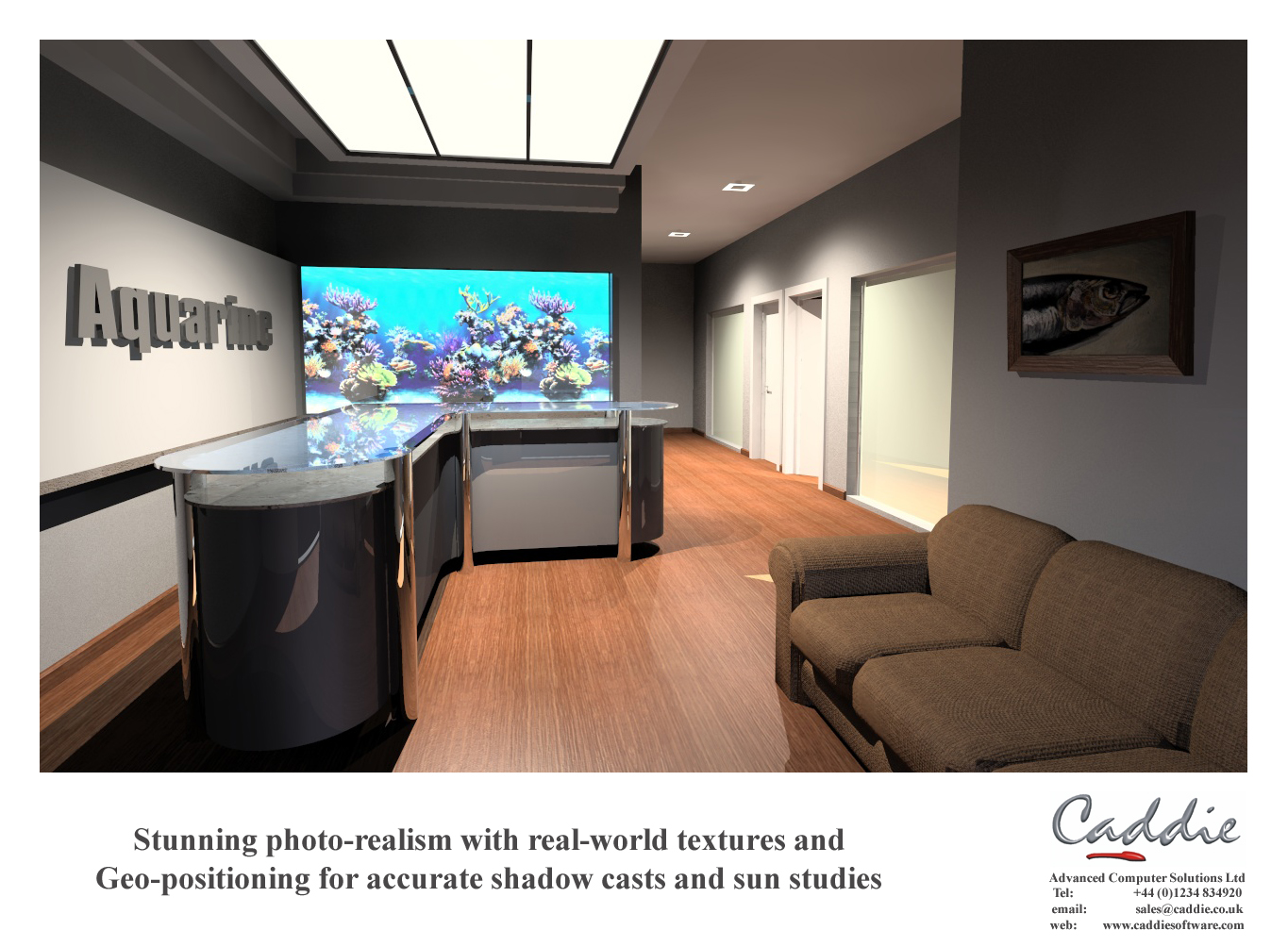 Rendering of a reception area modeled in Caddie